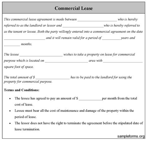Commercial Lease Agreement Sle Free Printable Documents Building Lease Agreement Template Free