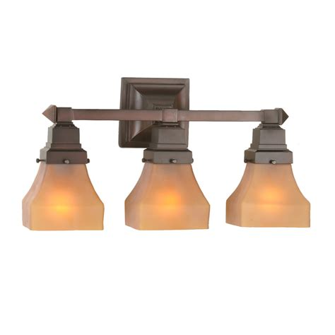 Meyda 50362 Bungalow Frosted Amber Vanity Light Mission Bathroom Lighting