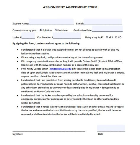assignment agreement template assignment agreement template 7 free documents