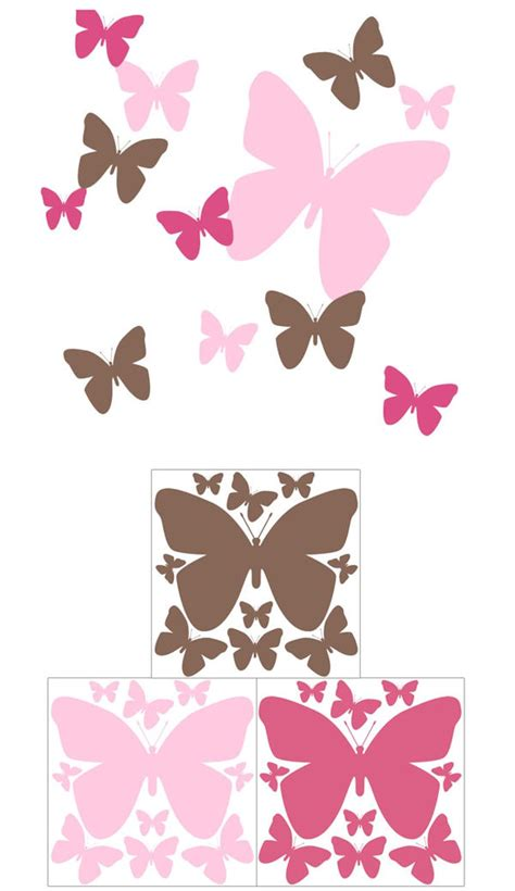 wall stickers butterfly butterfly pink and brown wall decals