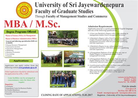Of Colombo Mba Programme by Mba M Sc Degree Programs Of Sri