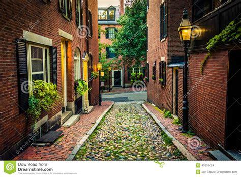 acorn street l acorn street in beacon hill boston massachusetts stock