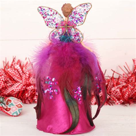 pink peacock christmas angel tree topper by red berry