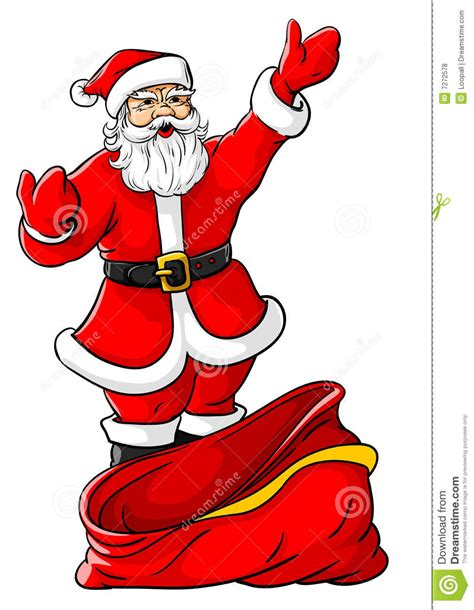 christmas santa claus with big empty sack stock vector