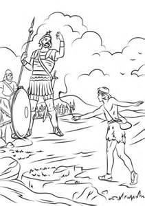 Ausmalbild: David gegen Goliath | Ausmalbilder kostenlos