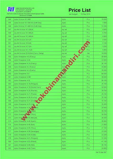 Daftar Murah daftar harga perlengkapan kantor 2015 bina mandiri