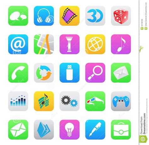 white background app ios 7 style mobile app icons isolated on white bac stock