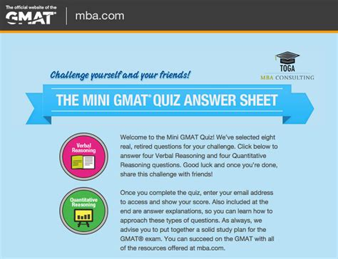 Questioning The Value Of An Mba by Mini Gmat Quiz A Sle Of The Real Gmat Test