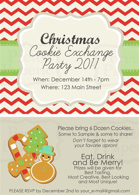 Items Similar To Custom Cookie Exchange Party Invite Classic Printable Pdf On Etsy Cookie Invitations Templates