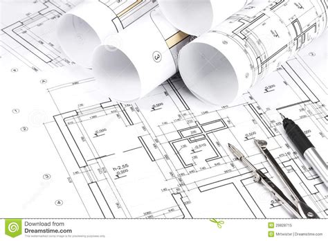 floor plan drawing tool rolled building plans stock image image of number detail