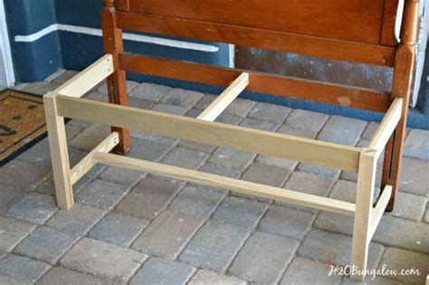 making a bench from a headboard diy twin headboard bench with storage hometalk