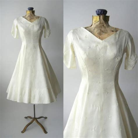 white retro wedding dresses 1950s dress vintage ivory satin wedding dress retro 50s