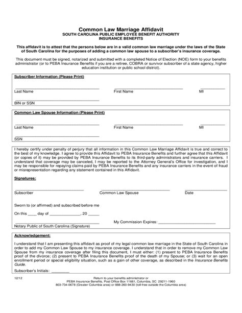 Common Marriage Letter Affidavit Of Common Marriage Form South Carolina