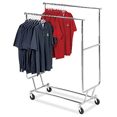 Clothes Rolling Rack by Commercial Grade Rail Salesman Collapsible Rolling