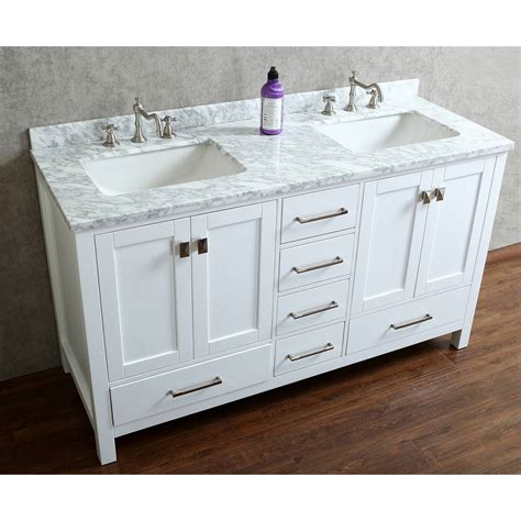 oak bathroom vanity cabinets buy vincent 60 quot solid wood double bathroom vanity in white