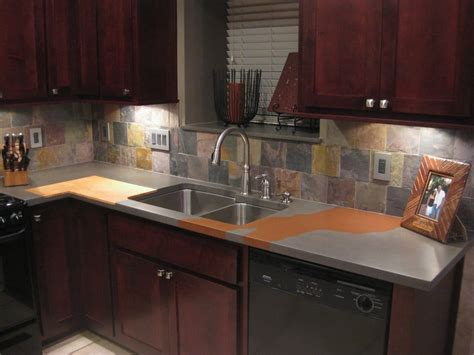 custom concrete countertop with recessed cutting board yelp