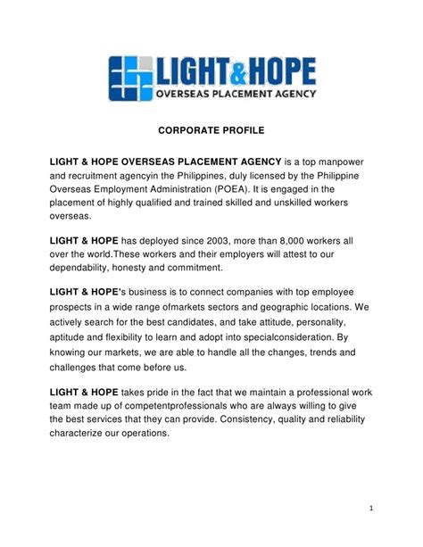 design agency company profile light hope manpower corporate profile