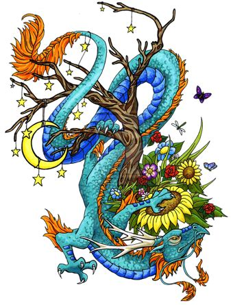 chinese tattoo png multicolor asian dragon with flowers and moon tattoo