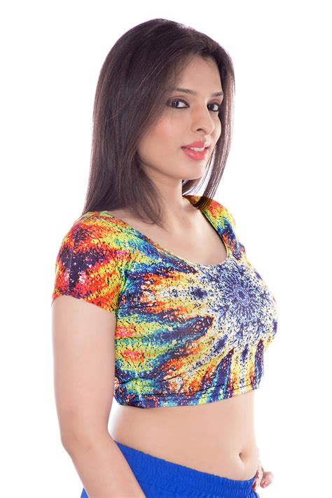 Febrita 2 Blouse By Alila Cloth buy multicolour lycra fabric printed stitched blouse
