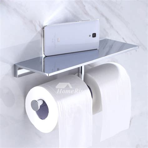 modern double brass toilet paper roll holder wall mounted