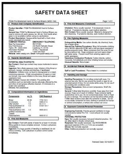 Ghs Safety Data Sheet Template by New Safety Data Sheet Pictures To Pin On Pinsdaddy