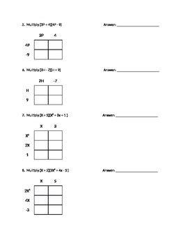 multiplying binomials using box method worksheet or quiz