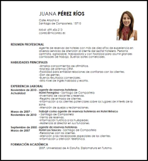 Modelo Curriculum Para Hoteleria Modelo Curriculum Vitae Agente De Reservas Hoteleras Livecareer