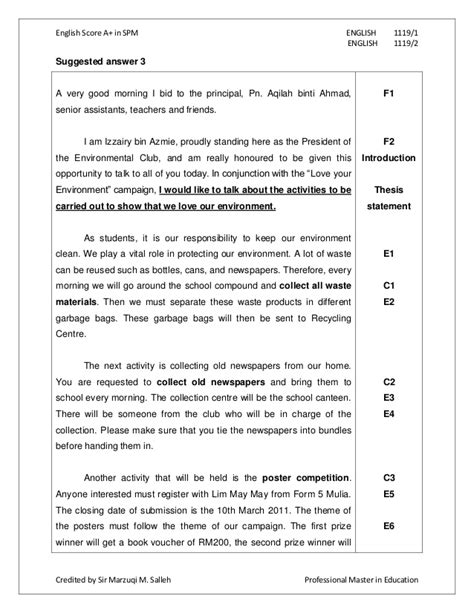 Spm Essay by Spm Essay Report Exle