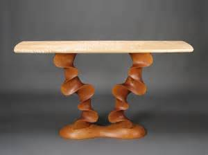 Custom contemporary console table carved cherry with curly maple top david hurwitz originals