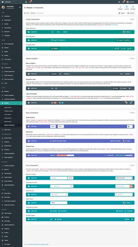themeforest navbar limitless responsive web application kit by kopyov