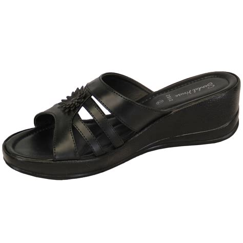 open toe house slippers womens slip on open toe wedge heel slippers shoes