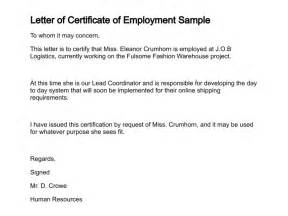 Certification Letter For Employment Sample Letter Of Certificate