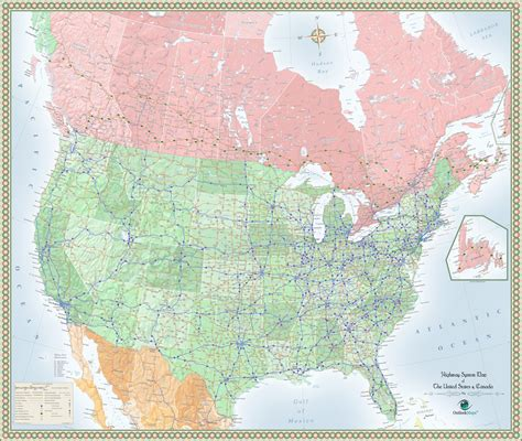 road map usa and canada usa and canada highway wall map maps