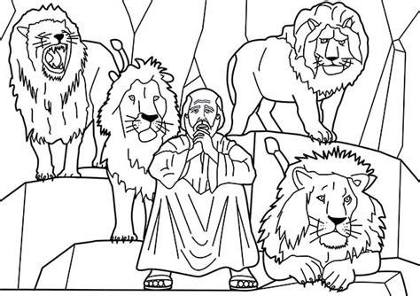 coloring page daniel in the lion s den daniel and four lions in daniel and the lions den coloring