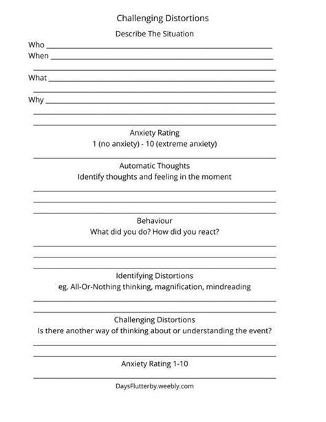 Cognitive Distortions Worksheet Pdf