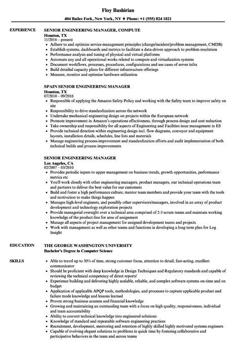 Engineering Manager Resume by Senior Engineering Manager Resume Sles Velvet