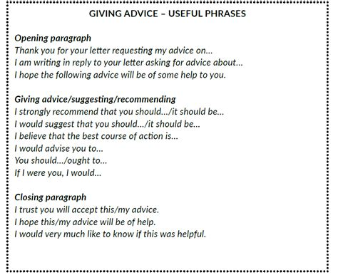 advice letter formal letters and emails giving and requesting advice