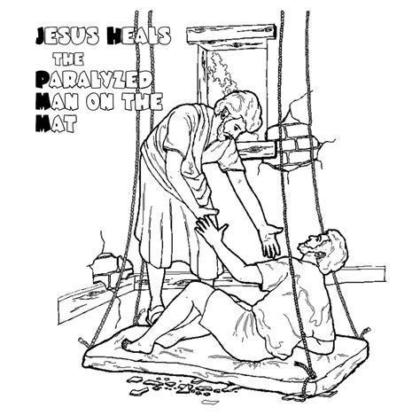 free coloring pages of jesus heals paralytic