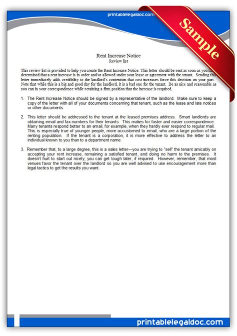 Rent Increase Letter Reply free printable rent increase notice form generic