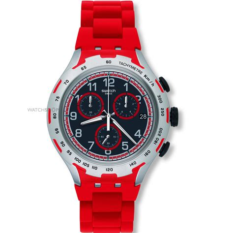 Unisex Swatch Red Attack Chronograph Watch (YYS4018AG)   WATCH SHOP.com?