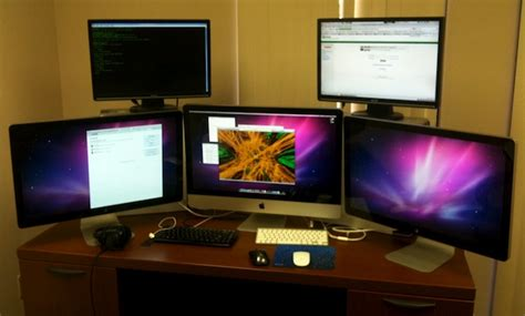 mac setups macbook pro apple cinema display mac setups imac 27 with dual 27 apple cinema displays