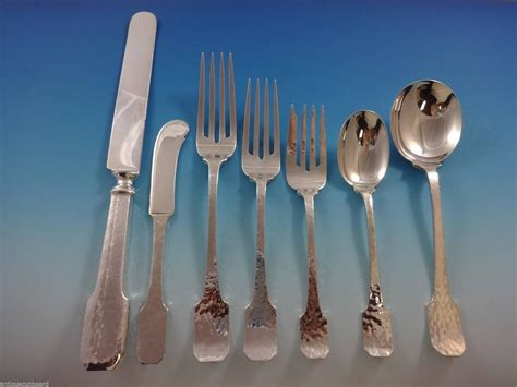 Handmade Sterling Silver Flatware - norman hammered by shreve sterling flatware set service of