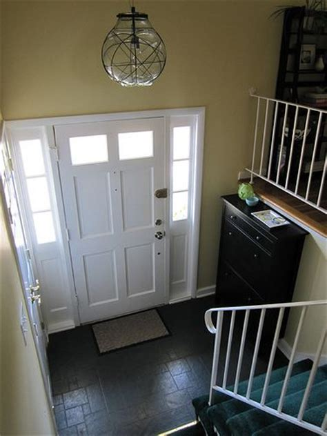 Split Entry Foyer hemnes shoe cabinet in a split foyer entry larger foyer than mine but general idea for