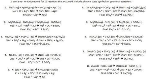 Net Ionic Equations Alexia S Ap Chemistry Lab Writeups