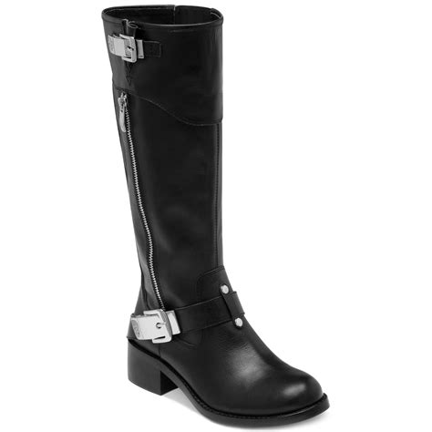 tall motorcycle boots vince camuto waymin tall motorcycle boots in black lyst