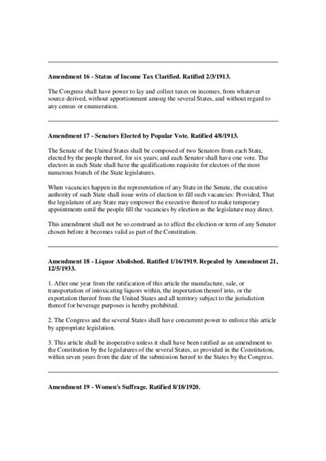 printable version of the us constitution and amendments printable version of the us constitution