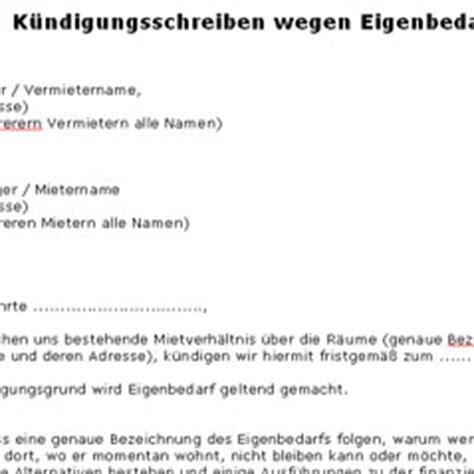 Wohnungskündigung Auf Eigenbedarf Muster K 252 Ndigungsschreiben Wegen Eigenbedarf Deutsche Anwaltshotline