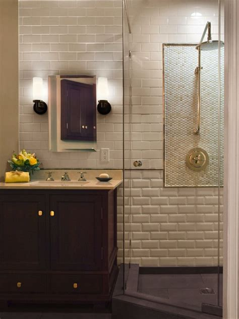bathroom subway tile beveled subway tile transitional bathroom