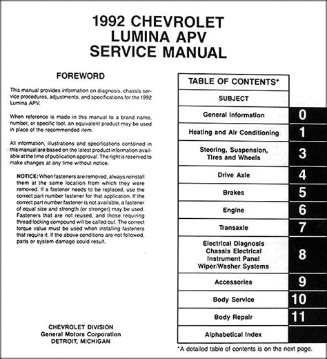 1992 chevy lumina apv minivan repair shop manual original