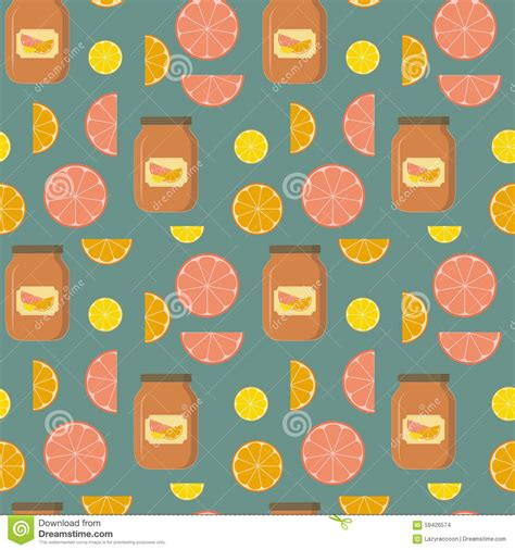 pattern of jam seamless pattern of citrus and banks of citrus jam stock